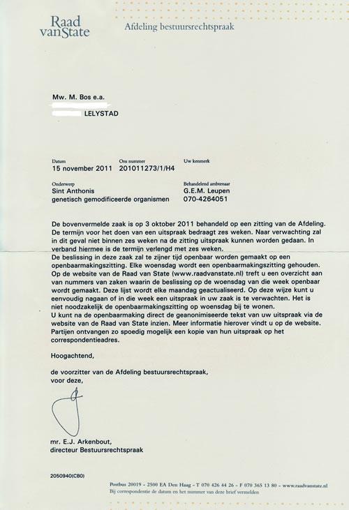 voorbeeldbrief tekenen voor ontvangst Gentechvrij, nieuws voorbeeldbrief tekenen voor ontvangst