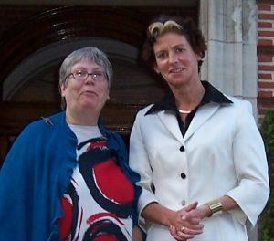 Miep Bos met Minister Verburg in Wassenaar tijdens een werkdiner in Voorlinden, Wassenaar.