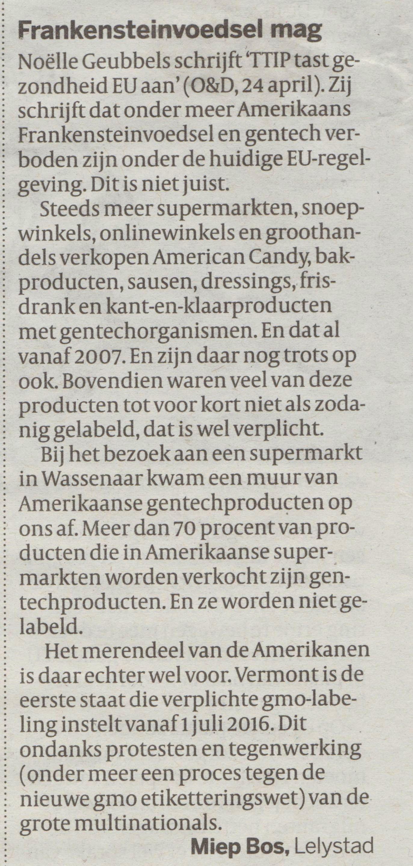 Frankensteinvoedsel Mag. Ingezonden brief van Miep Bos, geplaatst in de Volkkrant, 24-04-2015
