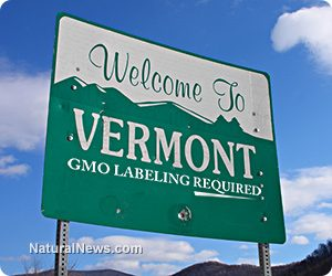 Bord met de tekst: Welcome to Vermont GOM Labeling required