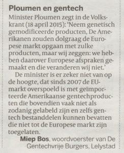 Ploumen en Gentech, ingezonden brief in Volkskrant