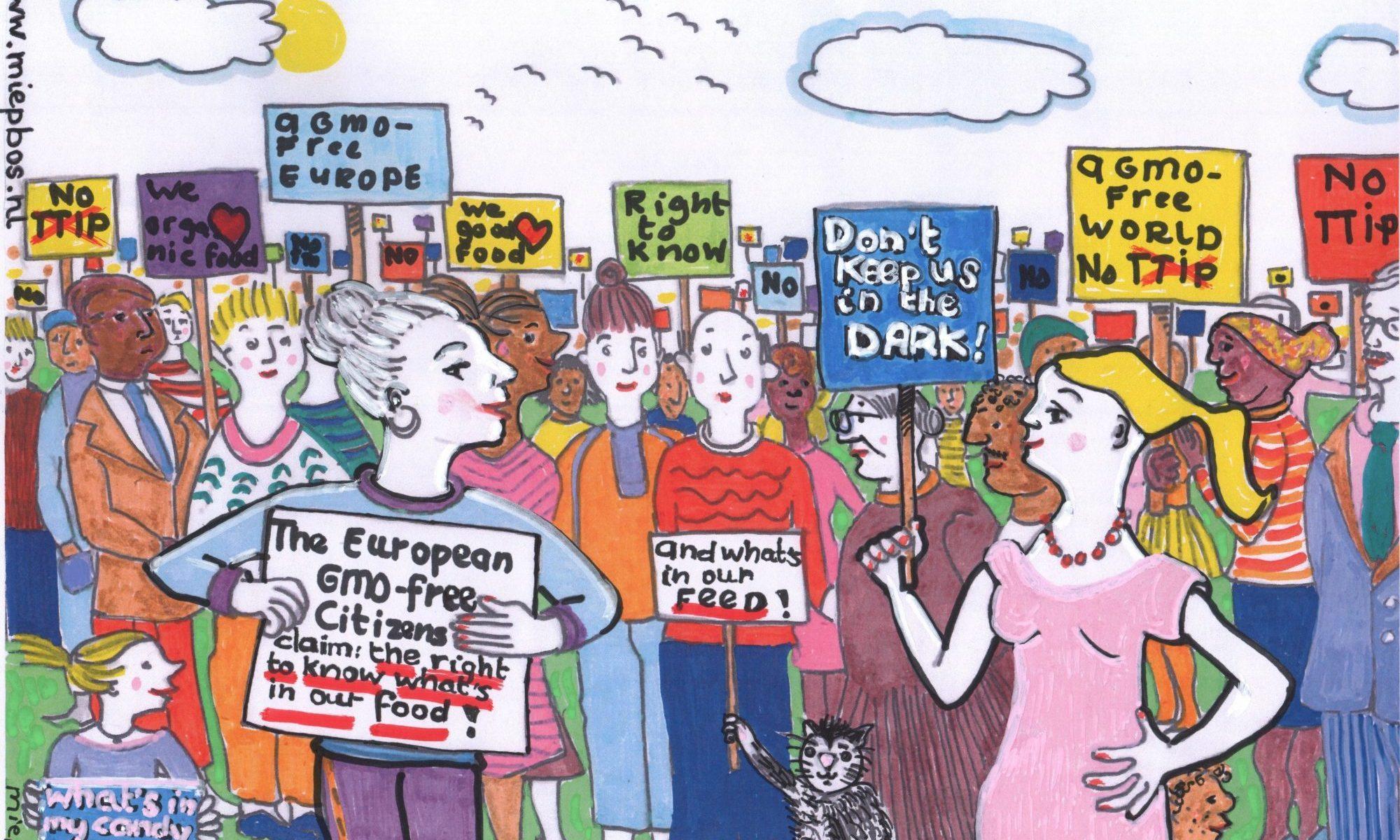 Right to know, een cartoon van Miep Bos. Tekening van protestborden tijdens een demonstratie