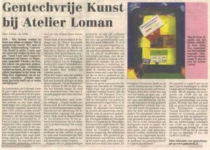 Atikel: Gentechvrije Kunst bij atelier Loman, Edese Post, 23-4-2004