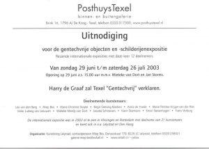 Uitnodigingskaart voor gentechvrije objecten en -schilderijen expositie te Texel (achterkant)