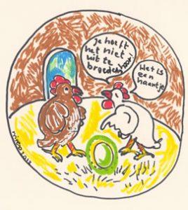 Ei cartoon lichtgevend gentech ei verboden door minister