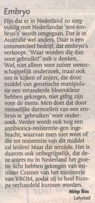 brief-gentech anjer-proef-embryo