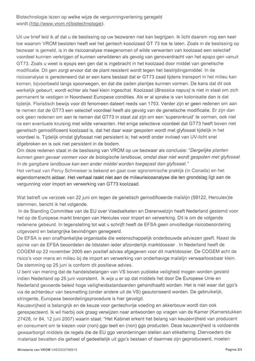 Antwoord minister Cramer op open brief (2)