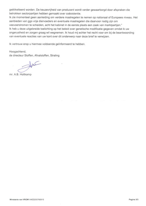 Antwoord minister Cramer op open brief (3)
