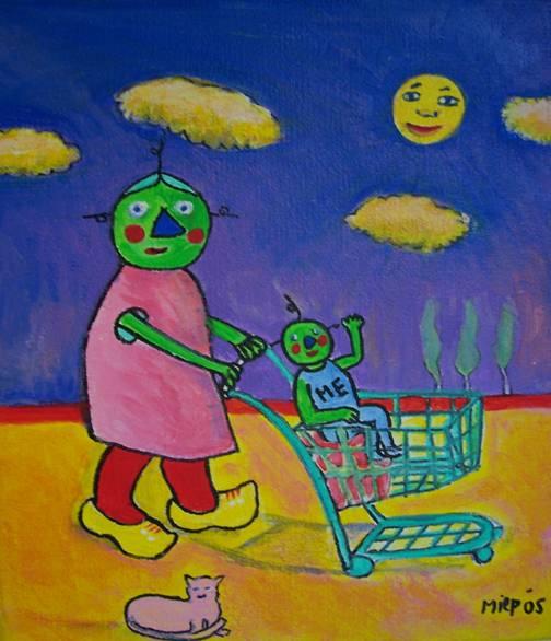 Schilderij - Je weet niet wat je eet- Miep Bos