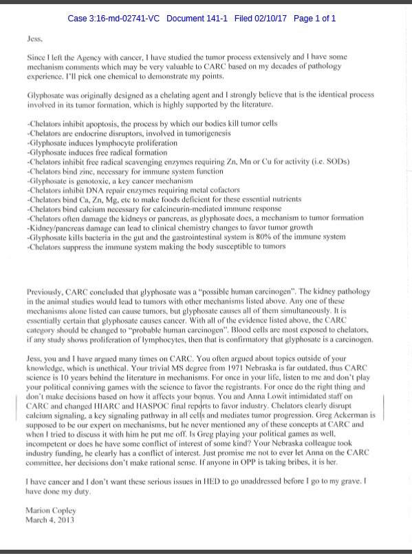 Bekentenis van EPA medewerkster over giftigheid glyfosaat.
