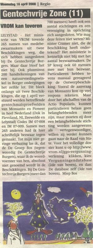 VROM tovert handtekeningen weg 2008 gentechvrije zone 11 M Bos
