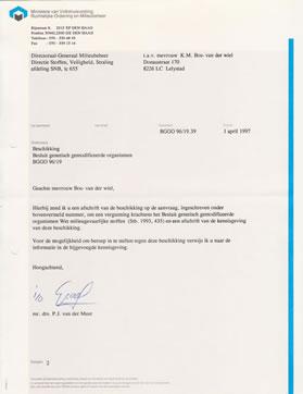 Zienswijze bezwaren 1997 bevestiging VROM