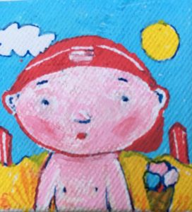 Kinderen hebben recht op een onbezorgde jeugd. Schilderijtje M. Bos.