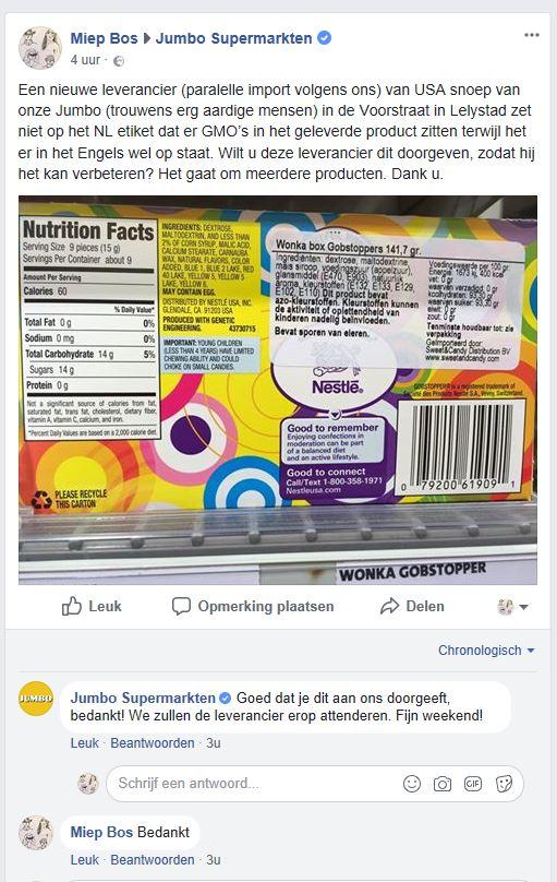 Jumbo weer een foutief gelabeld product detail commentaar 2