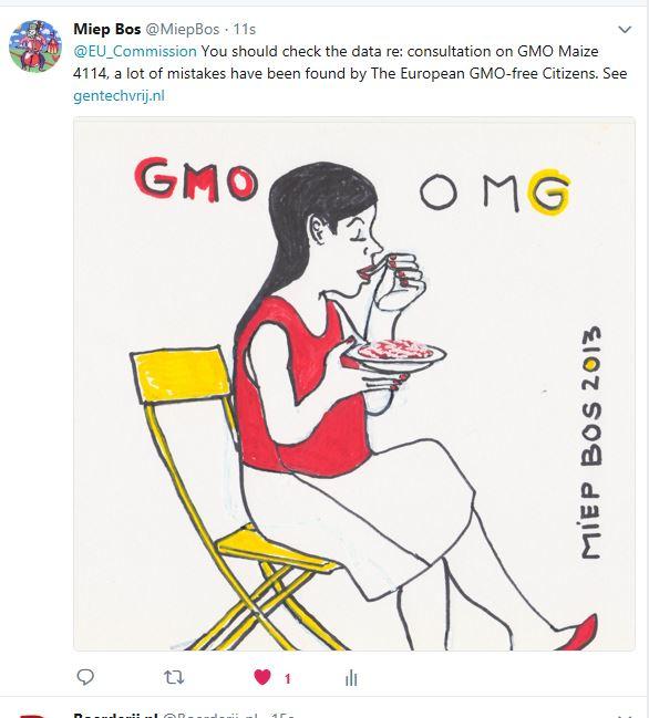 Tweet aan EC over fouten consultation gentech mais 4114