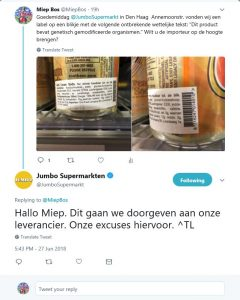 Jumbo foutieve labels AA drink 27-06-18