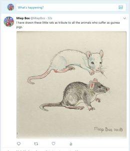 Tweet over ratjes als proefdieren copyright Miep Bos