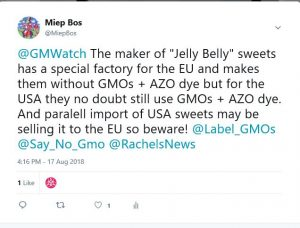 Jelly Belly tweet gmos in USA products not in EU produts