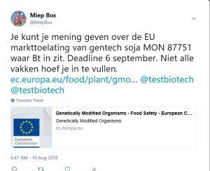 Tweet over markttoelating soja 2018