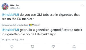 Vraag aan Philips Morris