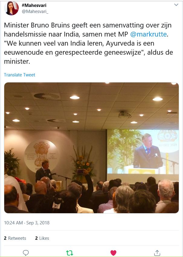 Ayurveda congres Leiden 3 sept. toespraak minister Bruins. Tweet Mahesvari