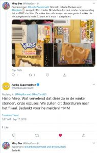 Weer geen NL label op Poptarts bij Jumbo, Jumbo belooft maatregelen