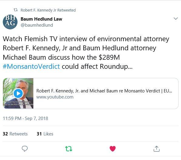 Robert Kennedy jr. bij de Vlaamse TV over Roundup zaak