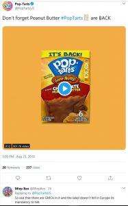 Reactie op website Poptarts USA