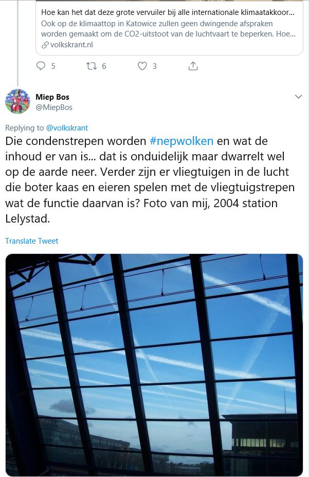 Tweet Volkskrant en antwoord van Miep Bos condensstrepen