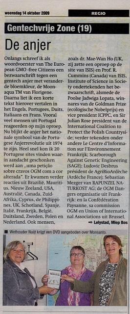 Column over Moonaqua tm in de krant van Flevoland van Miep Bos in 2009