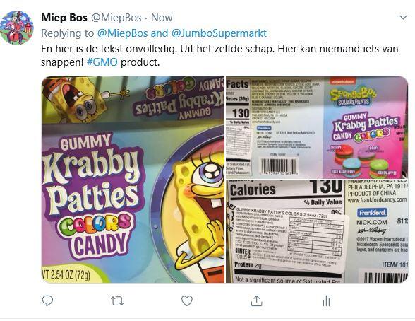 Gummy-Krabby foutief gelabeld bij Jumbo 20-04-2019.